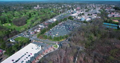 Panning Aerial View Of Princeton University Campus & Springdale Club Stock Footage