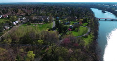 Aerial View Of Carnegie Lake & Bridge At Princeton University Campus - stock footage