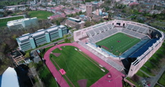 Aerial Panning View Of Weaver Stadium & Powers Field At Princeton University Stock Footage