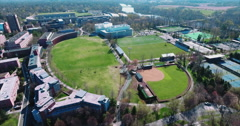 Aerial Shot Of Princeton University Over Soccer Field (Roberts Stadium) Stock Footage