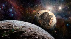 Alien Exo Planet. Elements of this image furnished by NASA - stock illustration