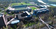 Aerial Shot Of Princeton University Close To Football Stadium(Powers Field) - stock footage