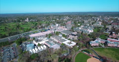 Fly Towards Whitman College On Princeton University Campus Stock Footage