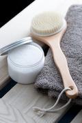 Salt scrub and back brush Stock Photos