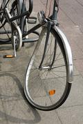 Bicycle with bent wheel Stock Photos