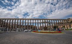 Ancient roman aqueduct in Segovia, Castilla y Leon, Spain Stock Photos