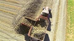 Unloading sugar beet aerial view Stock Footage