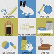 Icon set accessories for pets. Grooming veterinary - stock illustration