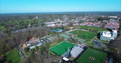 Flyover Tennis Courts At Princeton University Stock Footage