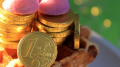 Green background - Chocolate Coins - Euro - 01 Stock Footage