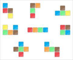 Tetris element set color design - stock illustration