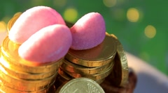 Green background - Chocolate Coins - Euro - 03 Stock Footage