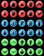 Arrow color set up and down, upload download - stock illustration