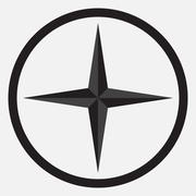 Compass star icon monochrome black white Stock Illustration