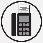 Fax device icon monochrome black white - stock illustration