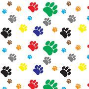 Pattern color dog animal foot print - stock illustration