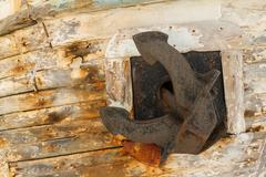 Anchor on Derelict Wooden Fishing Boat Wreck Stock Photos