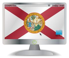 Florida Computer Screen With On Button Stock Illustration