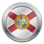 Florida Flag Silver Icon Stock Illustration