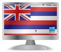 Hawaii Computer Screen With On Button Stock Illustration