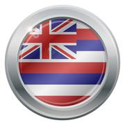 Hawaii Flag Silver Icon Stock Illustration