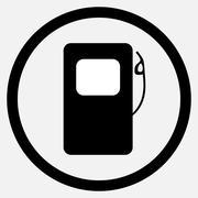 Fuel station icon black white - stock illustration