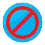Sign ban isolated round - stock illustration