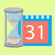 Time planning deadline hourglass and calendar Piirros