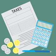 Tax form. Counting taxes - stock illustration