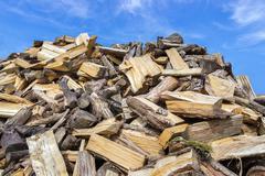 Big heap of chopped tree trunks for burning wood Kuvituskuvat