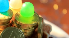 Yellow background -  Chocolate Coins - Plate - 07 Stock Footage