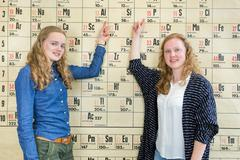 Two female students pointing at periodic table in chemistry lesson Stock Photos