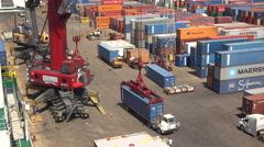 Cranes Load Ships At A Dockyard In Santo Tomas de Castilla Guatemala Stock Footage