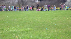 Easter eggs in grass of field during egg hunt 4k Stock Footage