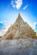 World's tallest sand castle at Historic Virginia Key Beach - stock photo