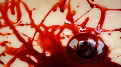 Water in sink rinsing blood down drain 4k Stock Footage