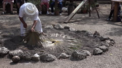 Mayan Mexican Man Uncovers Food Cooked In The Ground - stock footage