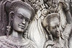 Bas Relief Carving of Apsaras on Angkor Wat Temple, Siem Reap, Cambodia Stock Photos