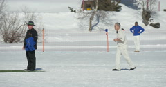 Cricket on ice run Stock Footage