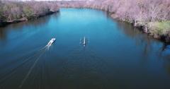 Princeton Aerial Of Rowing Team Stock Footage