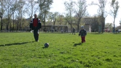 Grandfather and grandson play a ball on the green field Stock Footage