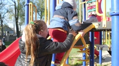 Kids, Children At The Playground, Yard, Playing, Running - stock footage