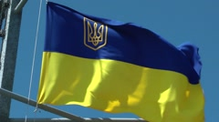 Flag of Ukraine on the ship's mast. Stock Footage