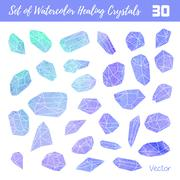 Watercolor, vector gemstones, healing crystals Stock Illustration