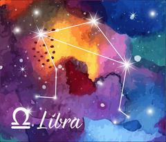 Stock Illustration of Zodiac sign on watercolor abstract galaxy texture