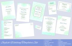 Set of Vector Wedding Templates - stock illustration