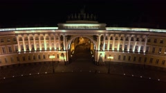 Aerial view. The General staff on Palace square. Saint-Petersburg. Night. 4K. Stock Footage