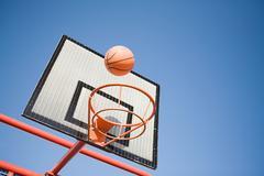 Basketball and hoop - stock photo