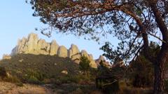 Montserrat Mountains Clouds Spain Sunset 5K Stock Video Footage - stock footage