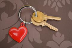 Keys on keyring with heart - stock photo